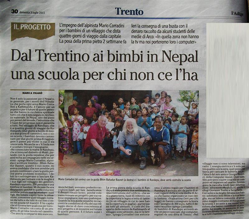 L'Adige 3 luglio 2011 Dal Trentino ai bimbi in Nepal una scuola per chi non ce l'ha
