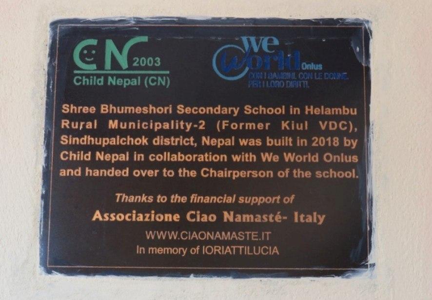 Donor-Plate-Bhumeshori-School-Sindhupalchock-Kuel-CiaoNamaste-Nepal